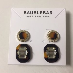 NWT Bauble Bar Tortoise Earring Set